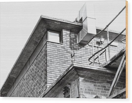 Brick Building Wood Print
