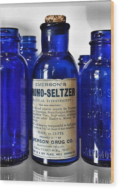 Bromo Seltzer Vintage Glass Bottles Collection Wood Print