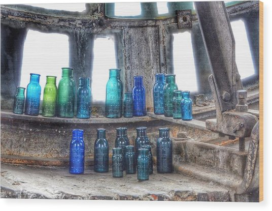 Bromo Seltzer Vintage Glass Bottles  Wood Print