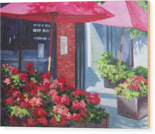 Cafe In Red Wood Print by Maralyn Miller