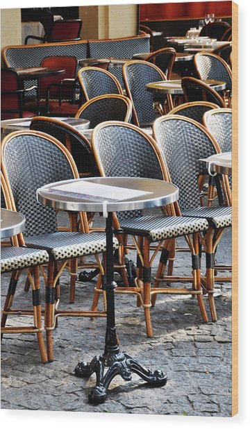 Cafe Terrace In Paris Wood Print