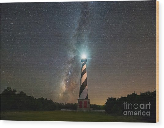 Cape Hatteras Lighthouse Milky Way Wood Print