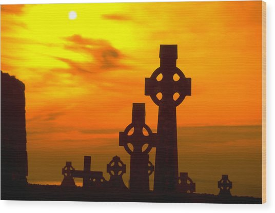 Celtic Crosses In Sunset Wood Print by Carl Purcell