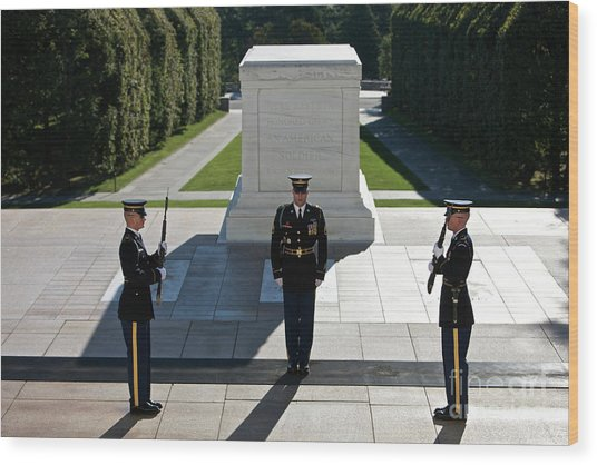 Changing Of Guard At Arlington National Wood Print