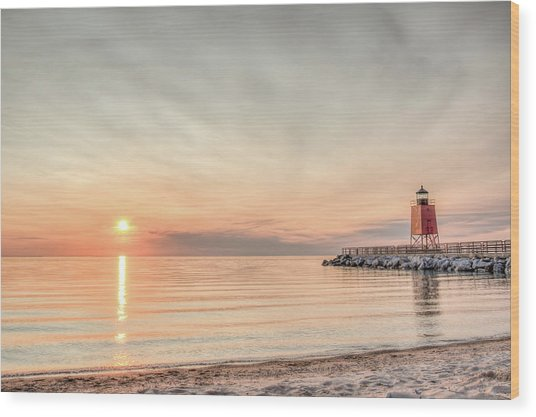 Charelvoix Lighthouse In Charlevoix, Michigan Wood Print