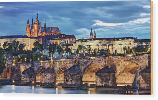 Wood Print featuring the photograph Charles Bridge And Prague Castle / Prague by Barry O Carroll