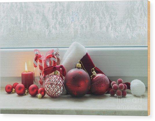 Christmas Windowsill Wood Print