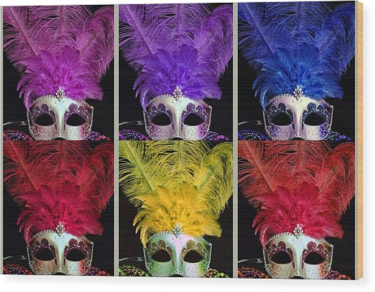 Colorful Mardi Gras Masks Wood Print