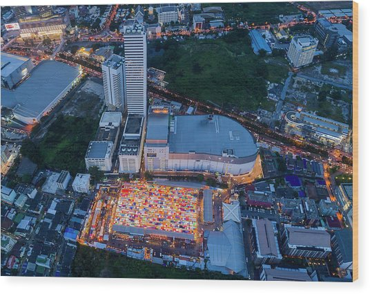 Wood Print featuring the photograph Colourful Night Market Aerial View by Pradeep Raja PRINTS