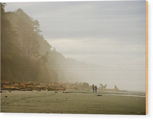 Couple On A Foggy Beach Wood Print by Wilbur Young