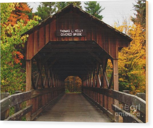 Covered Bridge At Allegany State Park Wood Print
