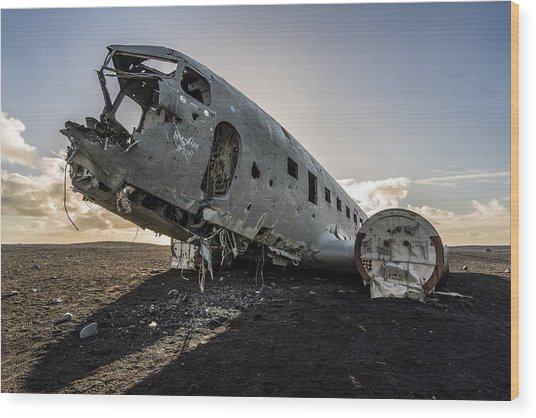 Wood Print featuring the photograph Crashed Dc-3 by James Billings