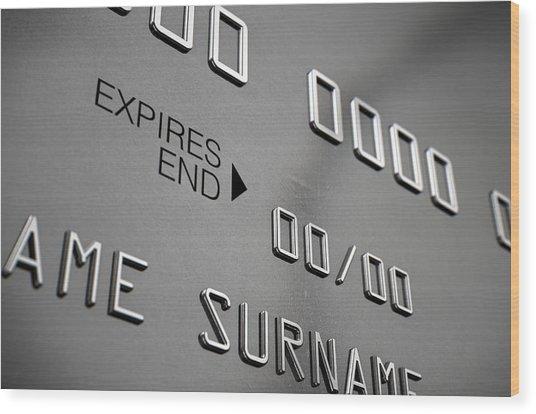 Credit Card Closeup Wood Print by Allan Swart