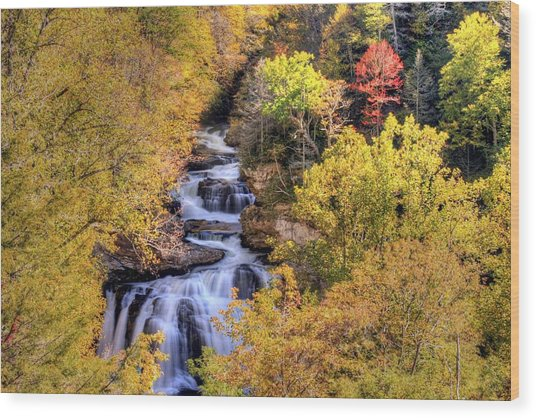 Cullasaja Falls Wood Print