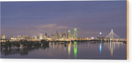 Dallas Skyline Twilight Wood Print