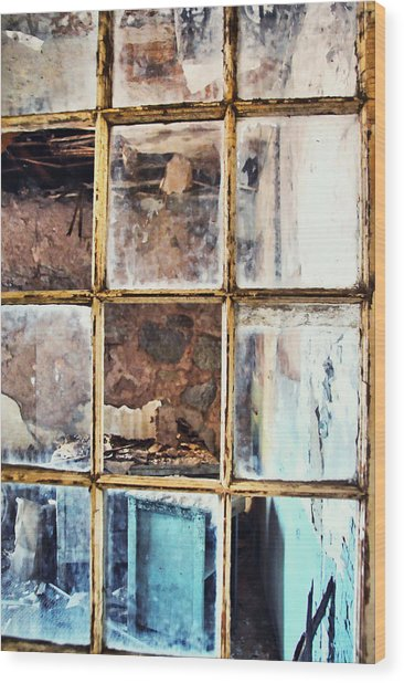 Blue Window Panes  Wood Print by JAMART Photography