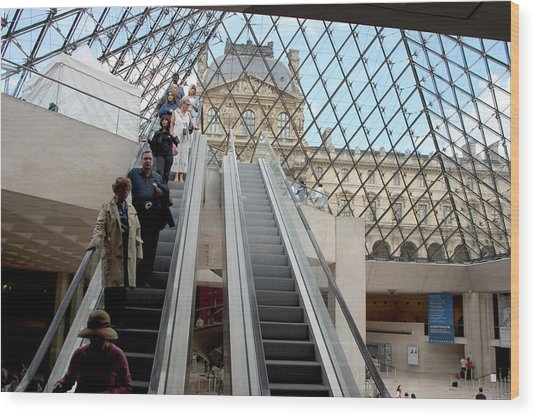 Escalator Entrance To Louvre Wood Print by Carl Purcell