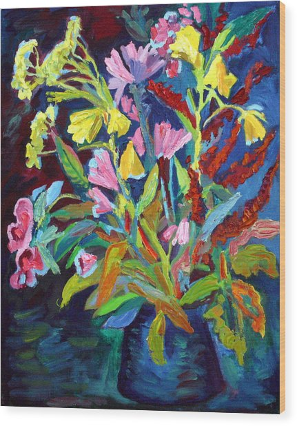 Evening Flowers Wood Print by Katia Weyher
