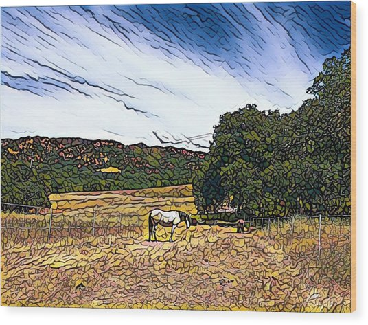 Fat Camp Grazing Wood Print