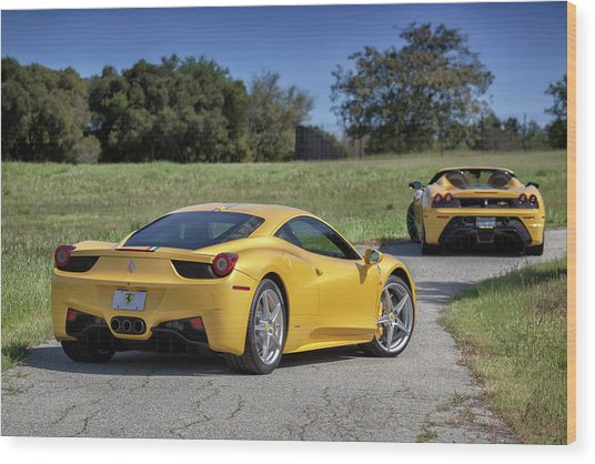 Wood Print featuring the photograph #ferrari #458italia #print by ItzKirb Photography