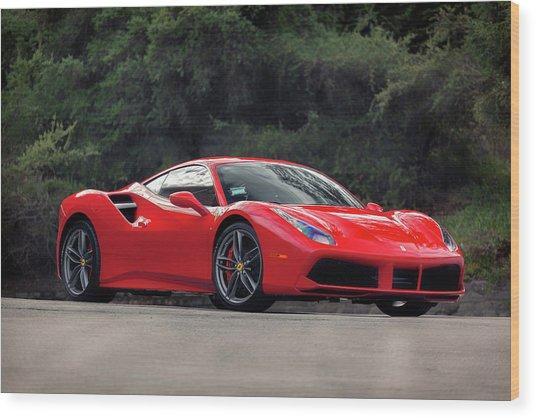 Wood Print featuring the photograph #ferrari #488gtb by ItzKirb Photography