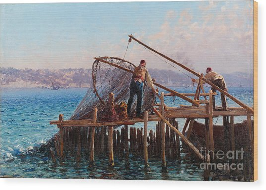 Fishermen Bringing In The Catch Wood Print