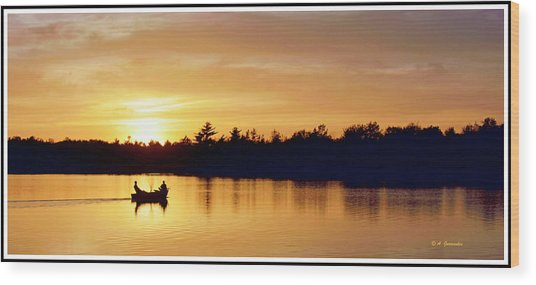 Fishermen On A Lake At Sunset Wood Print