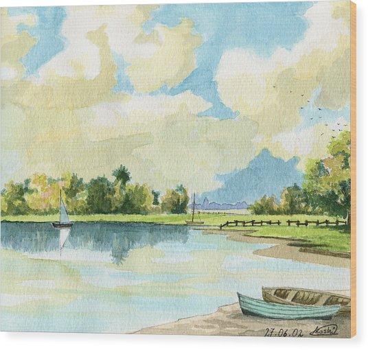 Fishing Lake Wood Print