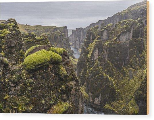 Wood Print featuring the photograph Fjadrargljufur by James Billings