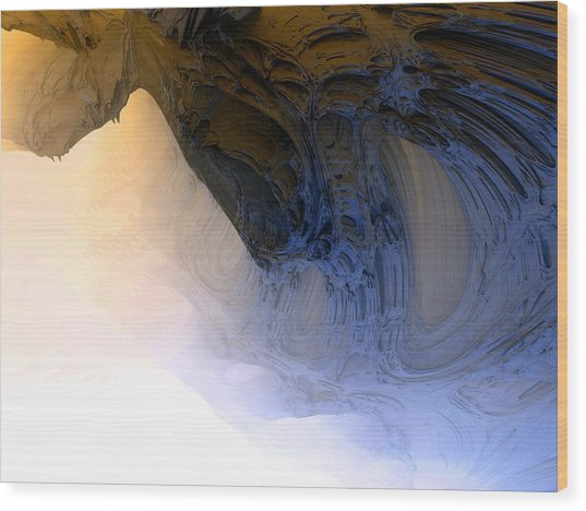 Fog In The Cave Wood Print