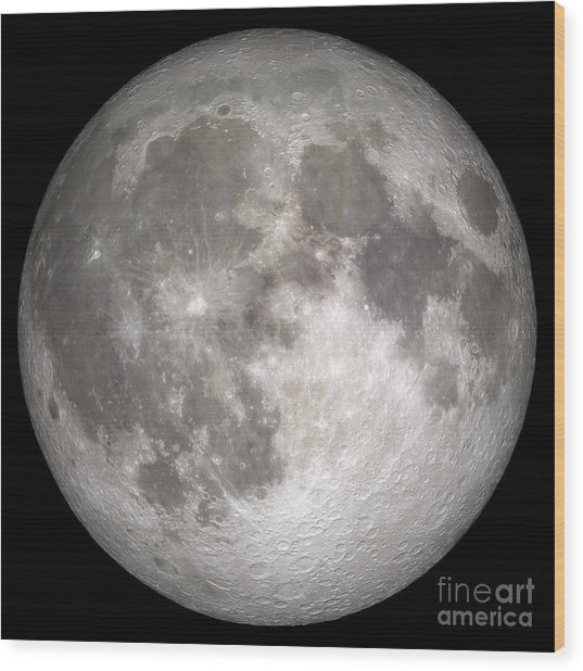 Wood Print featuring the photograph Full Moon by Stocktrek Images