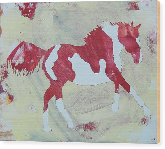 Galloping Pinto Wood Print