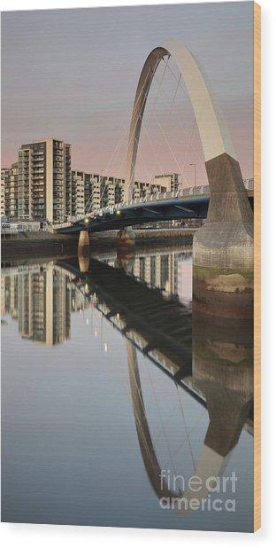 Glasgow Clyde Arc Bridge At Sunset Wood Print