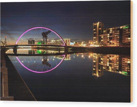 Glasgow Clyde Arc Bridge At Twilight Wood Print