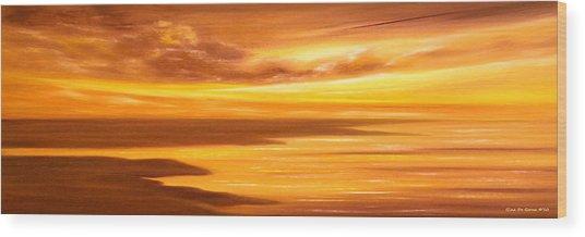 Golden Panoramic Sunset Wood Print