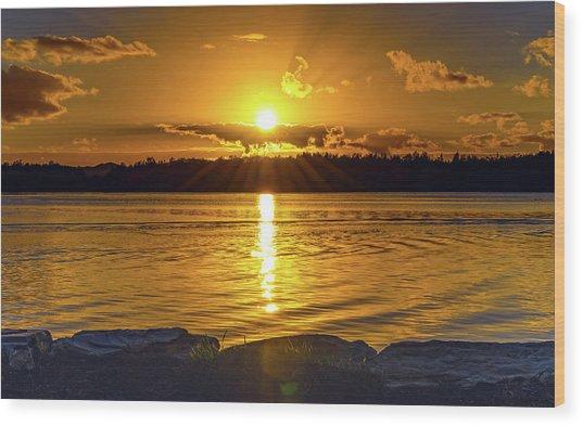 Golden Sunrise Waterscape Wood Print