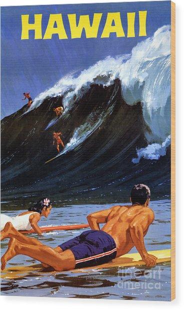 Hawaii Vintage Travel Poster Restored Wood Print
