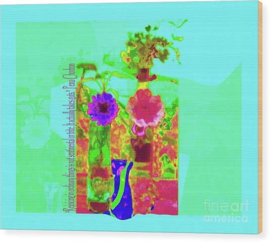 Hearts 'n Flowers-fauve Wood Print