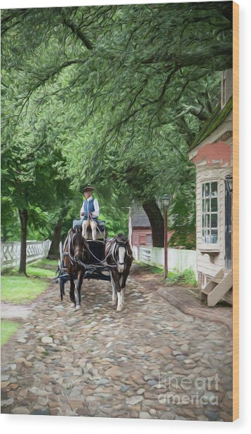 Horse Drawn Wagon Wood Print
