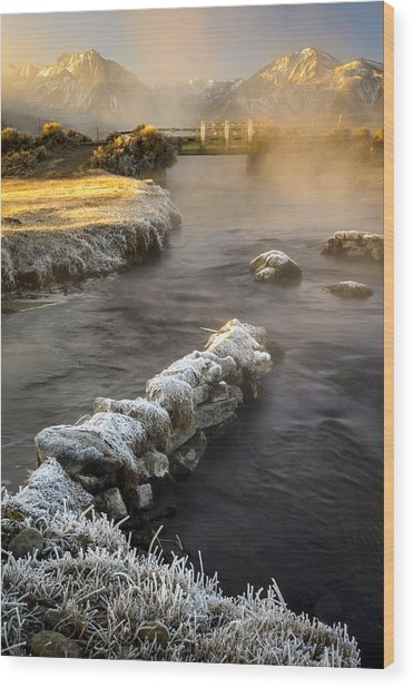 Hot Creek In Winter Wood Print