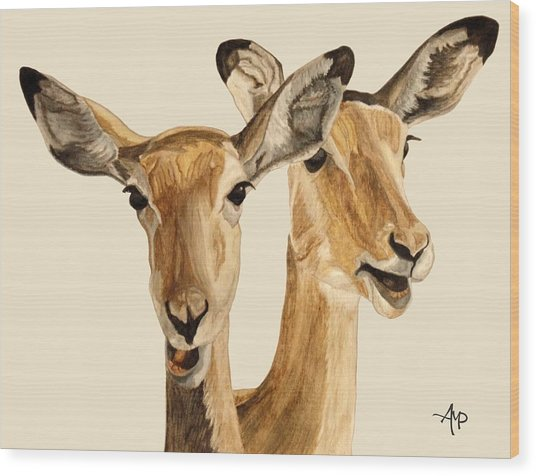 Impalas Wood Print