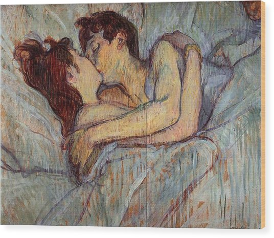 In Bed, The Kiss  Wood Print