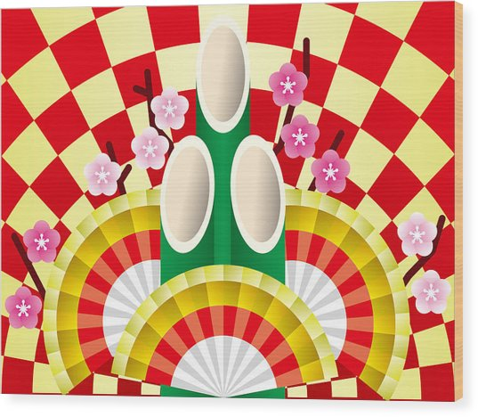Japanese Newyear Decoration Wood Print