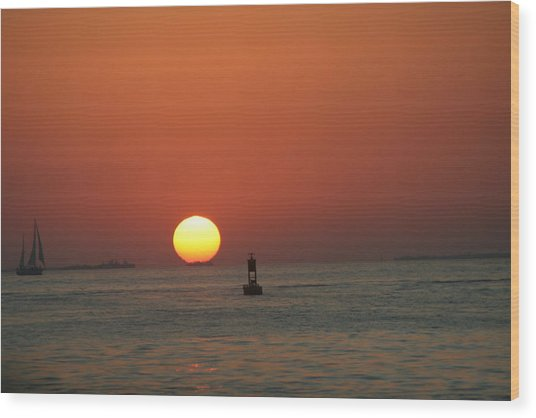 Key West Sunset Wood Print by Randy Morehouse
