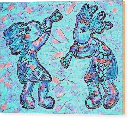 2 Kokopellis In Turquoise Wood Print