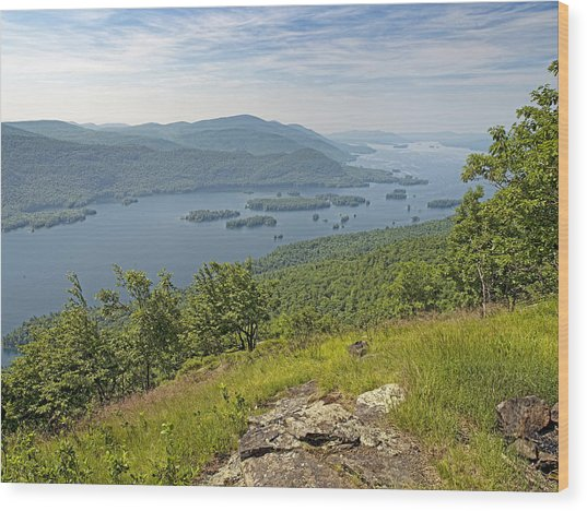 Lake George From The Tongue Mountain Range New York  Wood Print by Brendan Reals