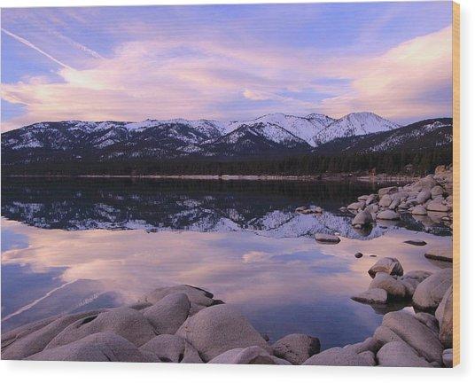Lake Tahoe Rocks  Wood Print