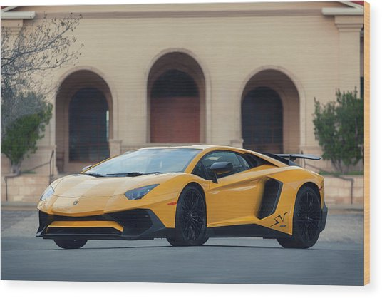 Wood Print featuring the photograph #lamborghini #aventadorsv #superveloce #print by ItzKirb Photography