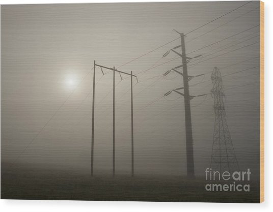 Large Transmission Towers In Fog Wood Print