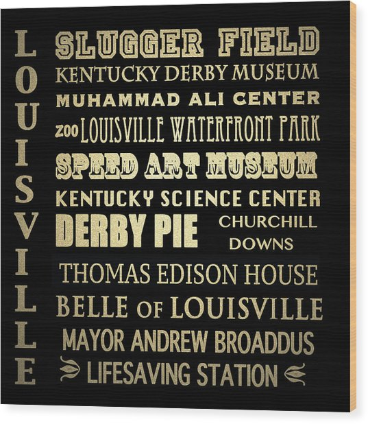 Louisville Famous Landmarks Wood Print